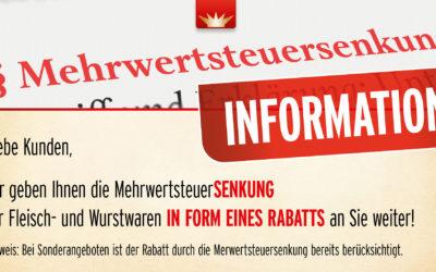 Information Mehrwertsteuersenkung